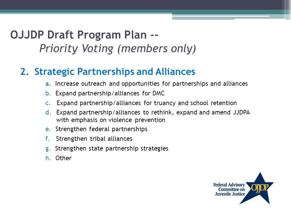 OJJDP Draft Program Plan -- Priority Voting (members only) 2.Strategic Partnerships and Alliances a.