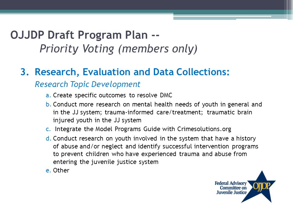 OJJDP Draft Program Plan -- Priority Voting (members only) 3.Research, Evaluation and Data Collections: Research Topic Development a.Create specific outcomes to resolve DMC b.Conduct more research on mental health needs of youth in general and in the JJ system; trauma-informed care/treatment; traumatic brain injured youth in the JJ system c.