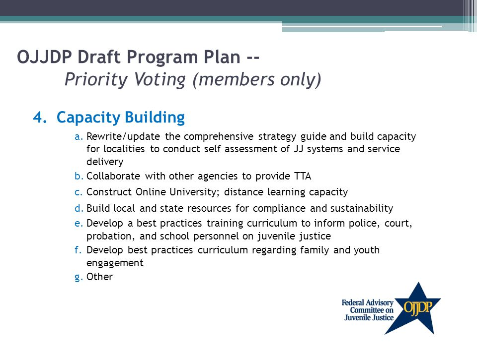 OJJDP Draft Program Plan -- Priority Voting (members only) 4.Capacity Building a.Rewrite/update the comprehensive strategy guide and build capacity for localities to conduct self assessment of JJ systems and service delivery b.Collaborate with other agencies to provide TTA c.Construct Online University; distance learning capacity d.Build local and state resources for compliance and sustainability e.Develop a best practices training curriculum to inform police, court, probation, and school personnel on juvenile justice f.Develop best practices curriculum regarding family and youth engagement g.Other
