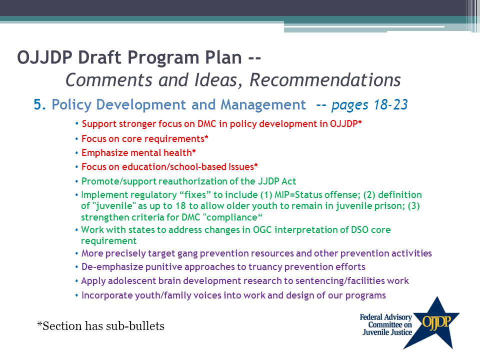 OJJDP Draft Program Plan -- Comments and Ideas, Recommendations 5.