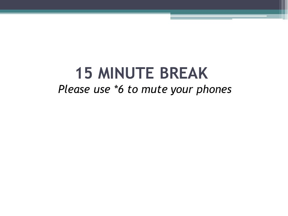 15 MINUTE BREAK Please use *6 to mute your phones