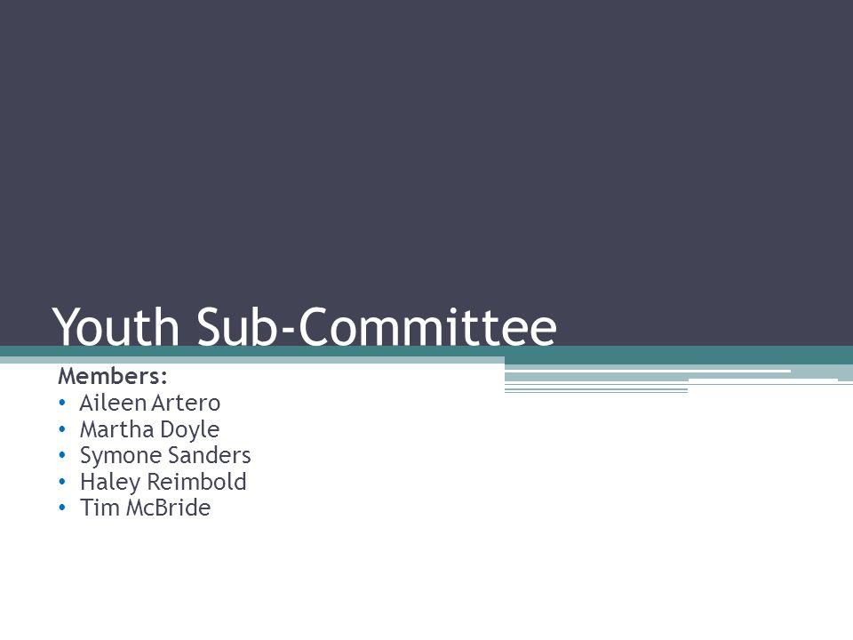 Youth Sub-Committee Members: Aileen Artero Martha Doyle Symone Sanders Haley Reimbold Tim McBride