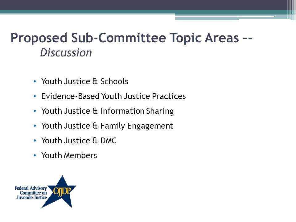 Proposed Sub-Committee Topic Areas –- Discussion Youth Justice & Schools Evidence-Based Youth Justice Practices Youth Justice & Information Sharing Youth Justice & Family Engagement Youth Justice & DMC Youth Members