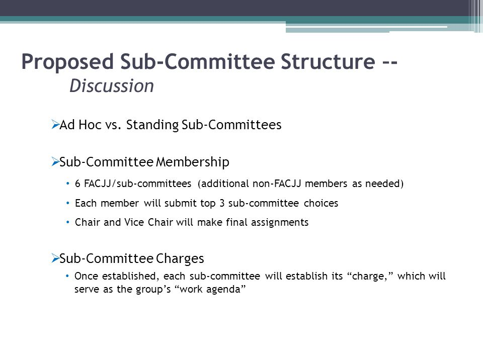 Proposed Sub-Committee Structure –- Discussion  Ad Hoc vs.