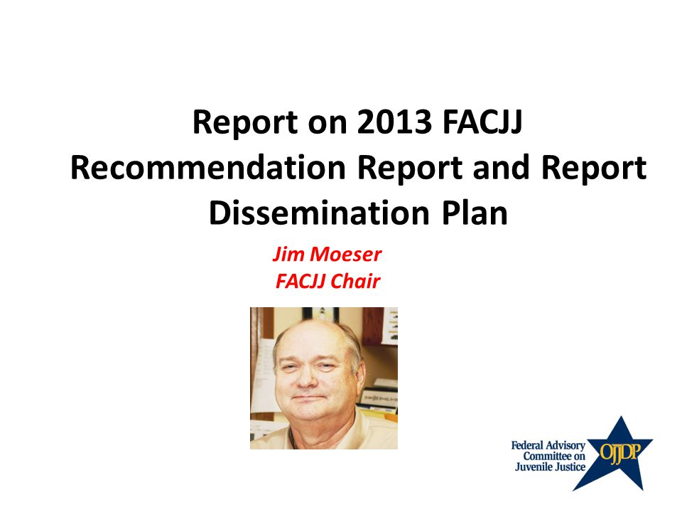 Report on 2013 FACJJ Recommendation Report and Report Dissemination Plan Jim Moeser FACJJ Chair