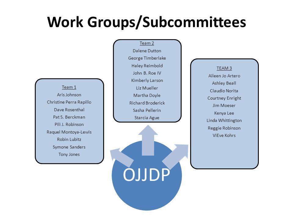 Work Groups/Subcommittees OJJDP Team 1 Aris Johnson Christine Perra Rapillo Dave Rosenthal Pat S.