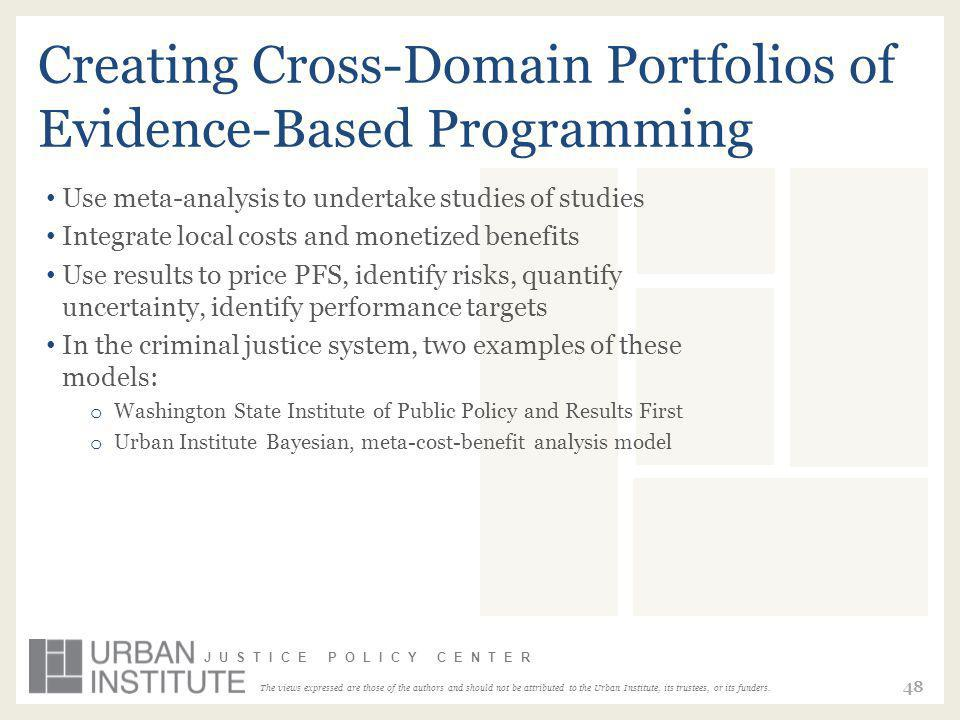 The views expressed are those of the authors and should not be attributed to the Urban Institute, its trustees, or its funders. JUSTICE POLICY CENTER