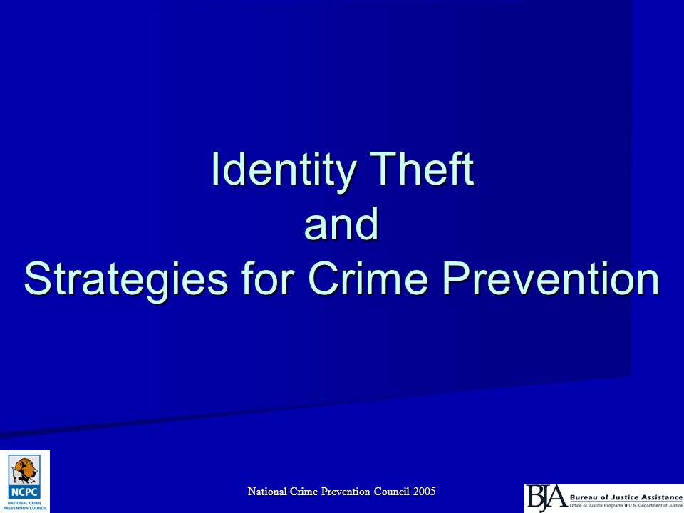 National Crime Prevention Council 20052 Objectives What is identity theft.