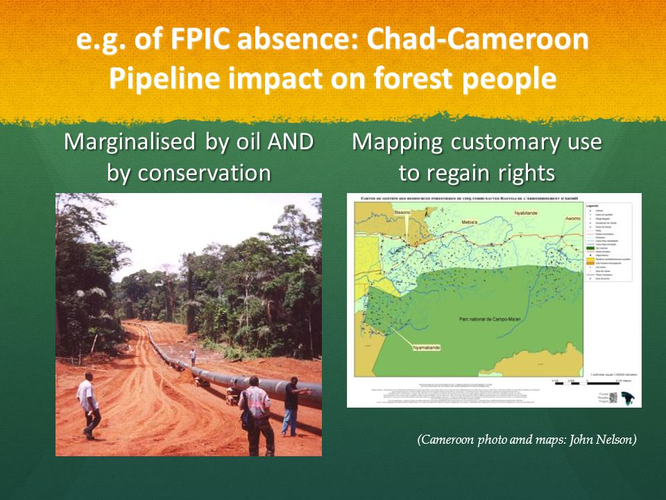 e.g. of FPIC absence: Chad-Cameroon Pipeline impact on forest people Marginalised by oil AND by conservation Mapping customary use to regain rights (C