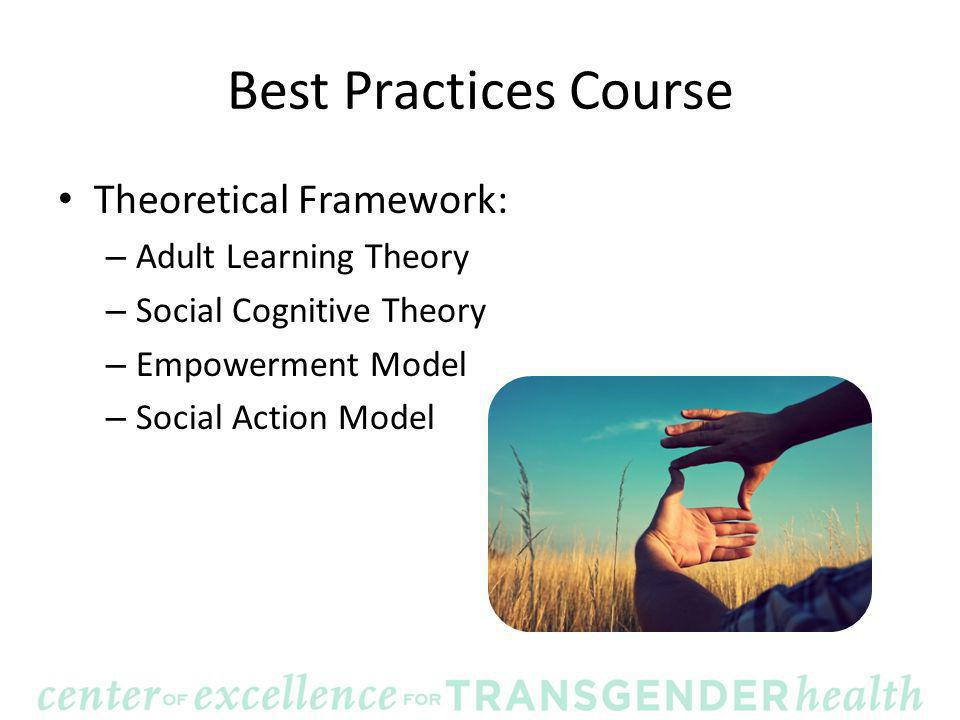 Best Practices Course Theoretical Framework: – Adult Learning Theory – Social Cognitive Theory – Empowerment Model – Social Action Model