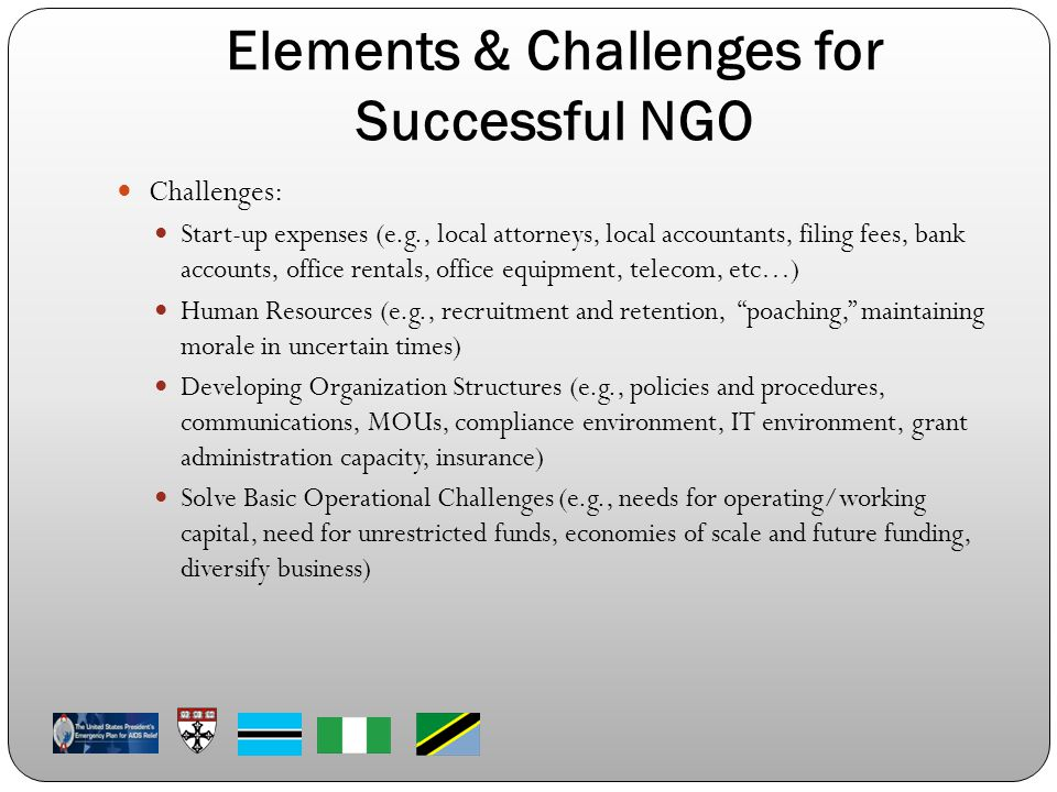 Elements & Challenges for Successful NGO Challenges: Start-up expenses (e.g., local attorneys, local accountants, filing fees, bank accounts, office rentals, office equipment, telecom, etc…) Human Resources (e.g., recruitment and retention, poaching, maintaining morale in uncertain times) Developing Organization Structures (e.g., policies and procedures, communications, MOUs, compliance environment, IT environment, grant administration capacity, insurance) Solve Basic Operational Challenges (e.g., needs for operating/working capital, need for unrestricted funds, economies of scale and future funding, diversify business)