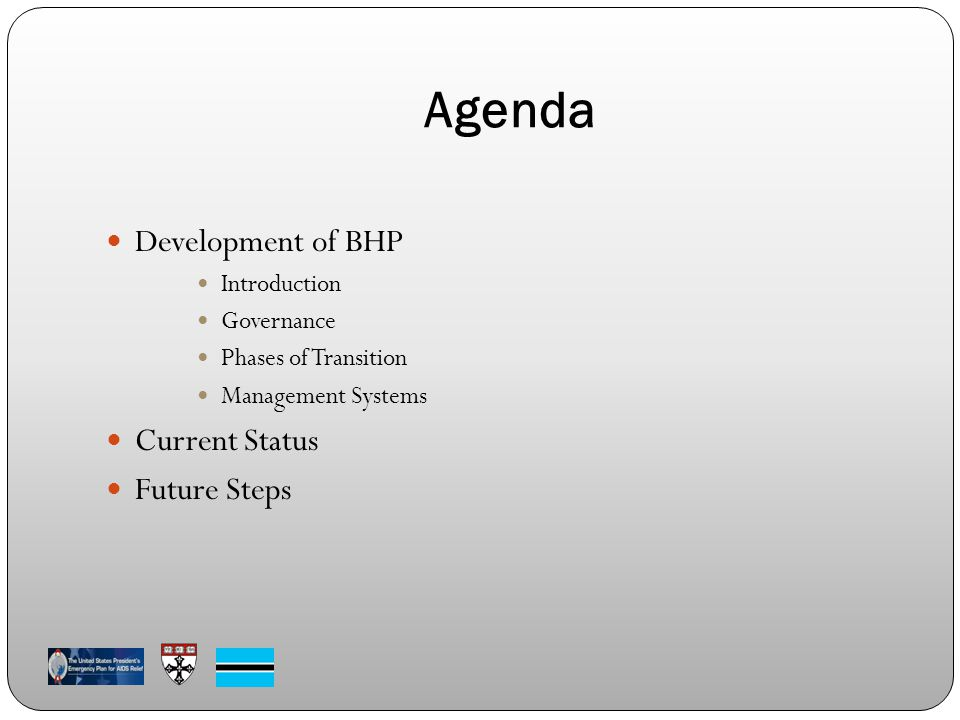Agenda Development of BHP Introduction Governance Phases of Transition Management Systems Current Status Future Steps