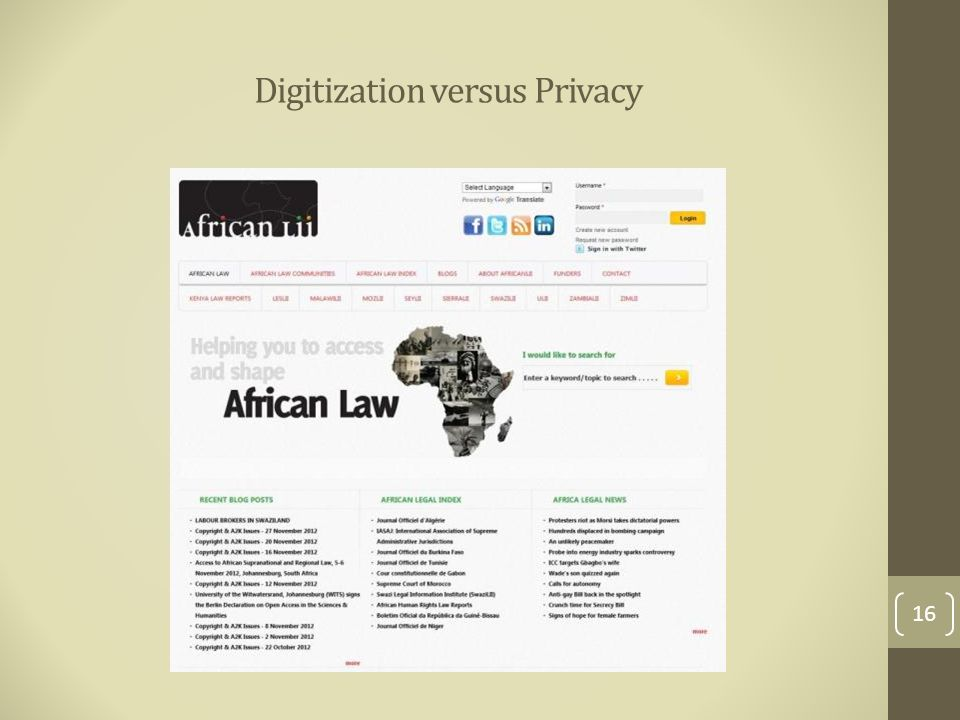 Digitization versus Privacy 16