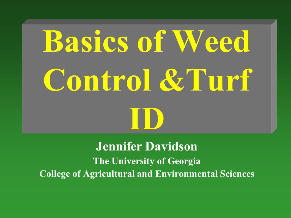 Basics of Weed Control &Turf ID Jennifer Davidson The University of Georgia College of Agricultural and Environmental Sciences