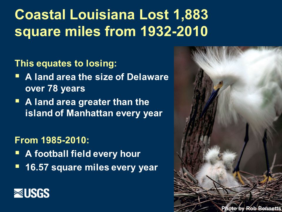 This equates to losing:  A land area the size of Delaware over 78 years  A land area greater than the island of Manhattan every year From 1985-2010:  A football field every hour  16.57 square miles every year Coastal Louisiana Lost 1,883 square miles from 1932-2010