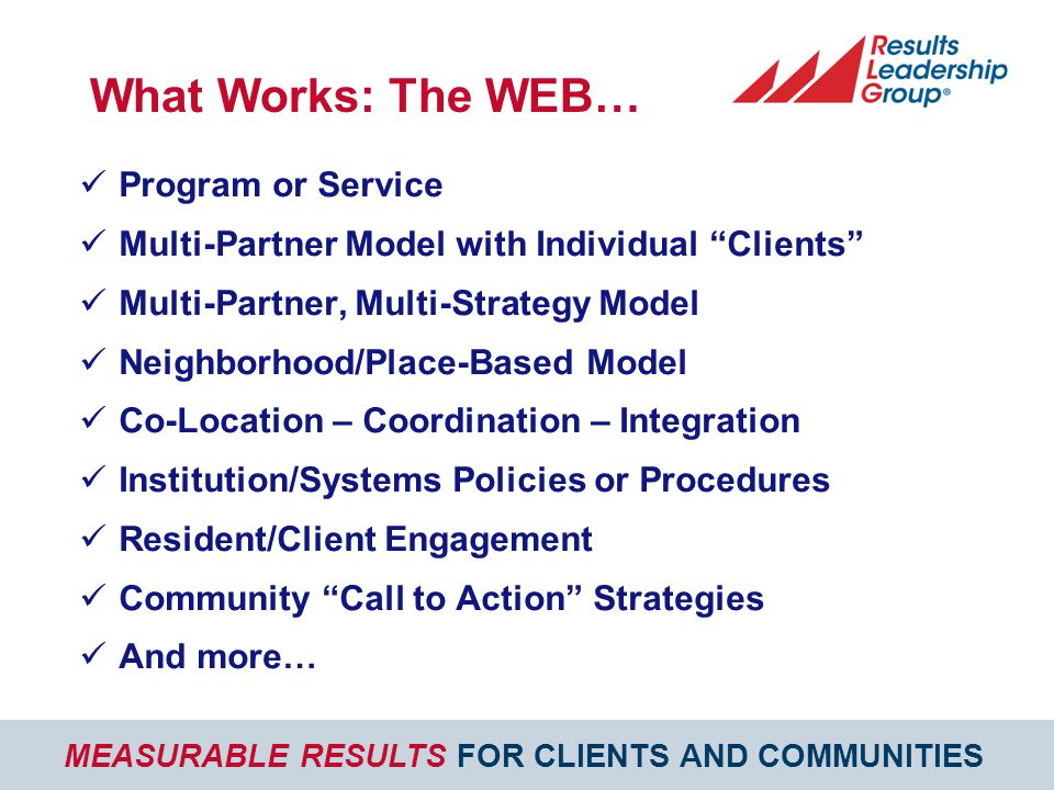 MEASURABLE RESULTS FOR CLIENTS AND COMMUNITIES What Works: The WEB… Program or Service Multi-Partner Model with Individual Clients Multi-Partner, Multi-Strategy Model Neighborhood/Place-Based Model Co-Location – Coordination – Integration Institution/Systems Policies or Procedures Resident/Client Engagement Community Call to Action Strategies And more…