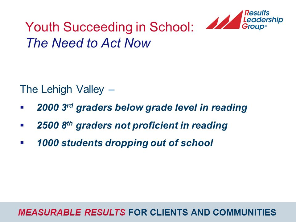 MEASURABLE RESULTS FOR CLIENTS AND COMMUNITIES Youth Succeeding in School: The Need to Act Now The Lehigh Valley –  2000 3 rd graders below grade level in reading  2500 8 th graders not proficient in reading  1000 students dropping out of school