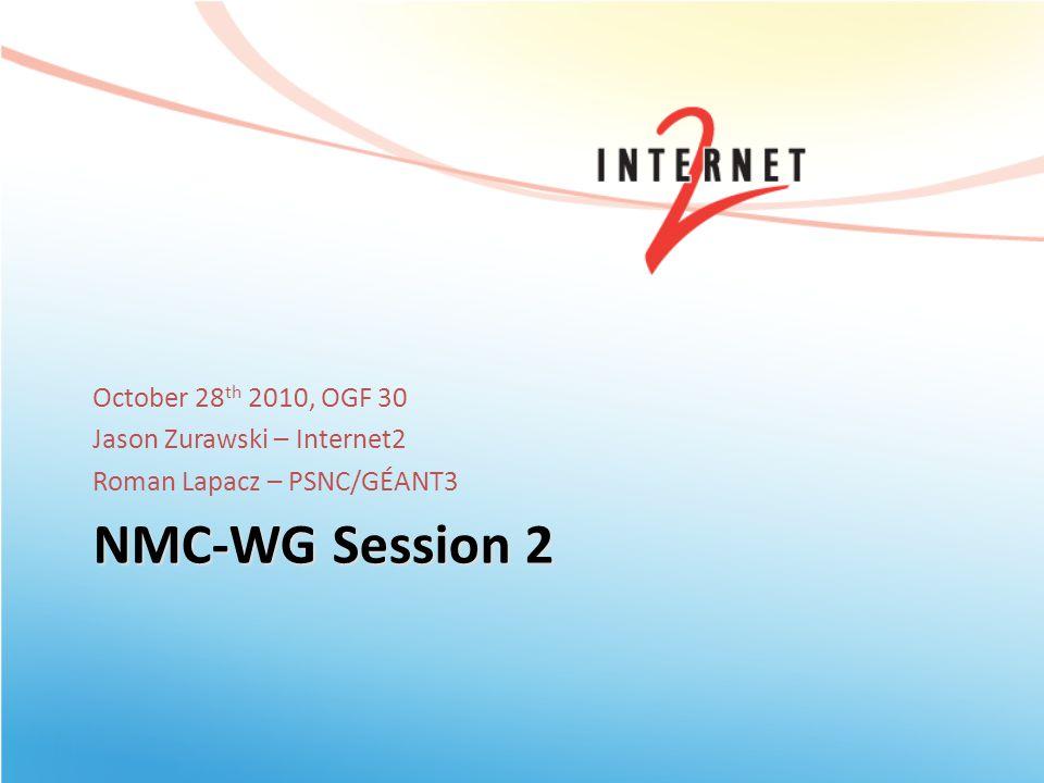 NMC-WG Session 2 October 28 th 2010, OGF 30 Jason Zurawski – Internet2 Roman Lapacz – PSNC/GÉANT3
