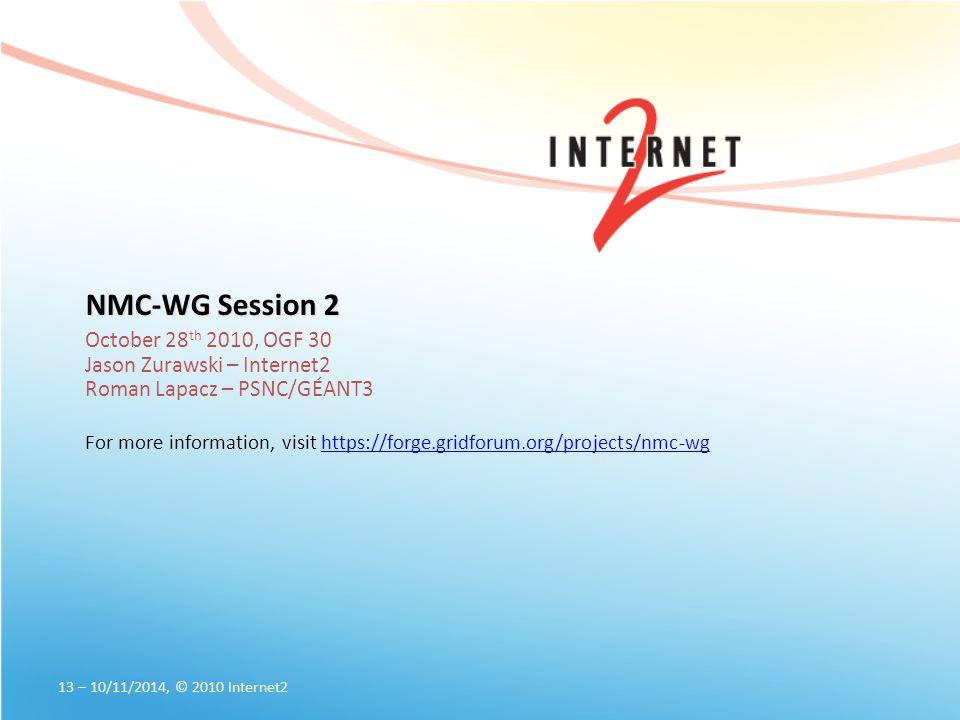 NMC-WG Session 2 October 28 th 2010, OGF 30 Jason Zurawski – Internet2 Roman Lapacz – PSNC/GÉANT3 For more information, visit https://forge.gridforum.