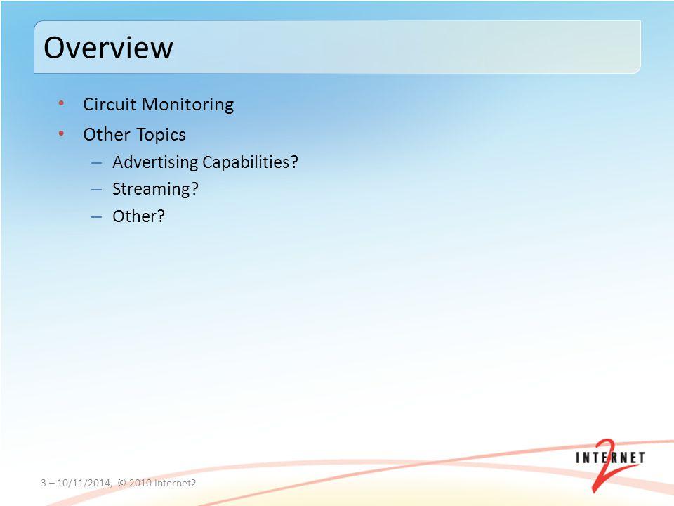 Circuit Monitoring Other Topics – Advertising Capabilities.