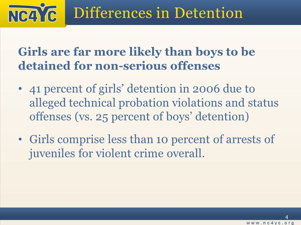 www.nc4yc.org 4 Differences in Detention Girls are far more likely than boys to be detained for non-serious offenses 41 percent of girls' detention in 2006 due to alleged technical probation violations and status offenses (vs.