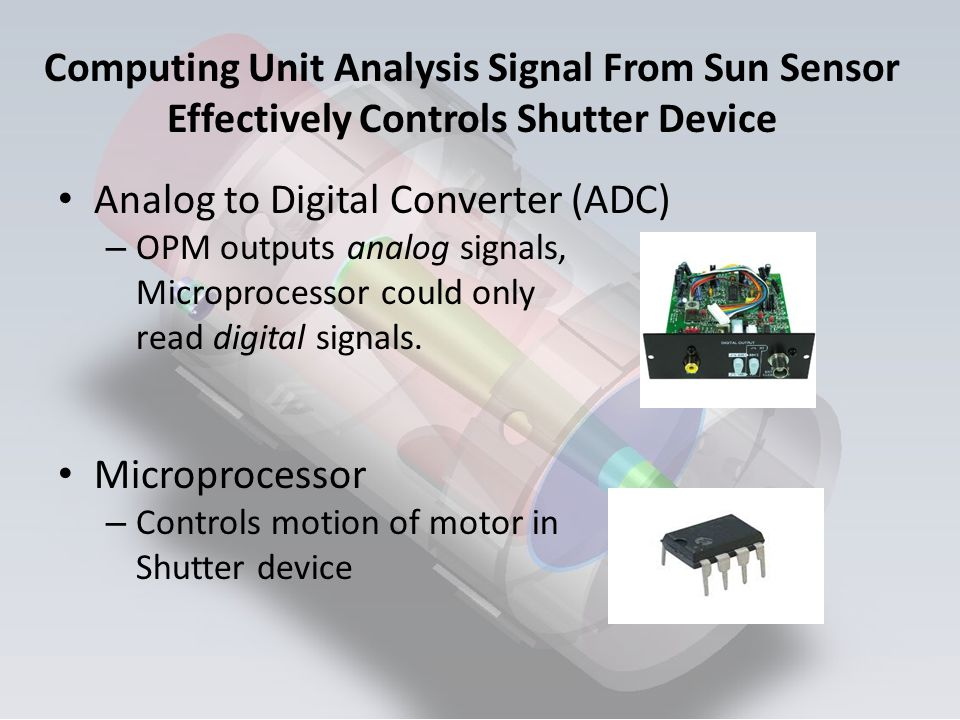 Computing Unit Analysis Signal From Sun Sensor Effectively Controls Shutter Device Analog to Digital Converter (ADC) – OPM outputs analog signals, Mic