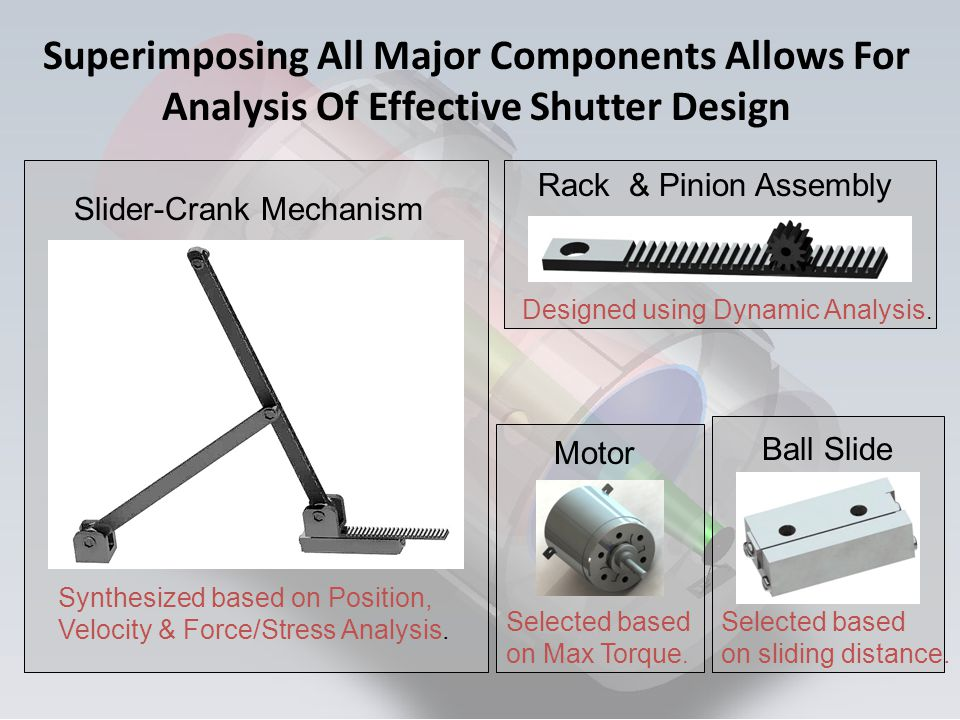 Slider-Crank Mechanism Synthesized based on Position, Velocity & Force/Stress Analysis. Rack & Pinion Assembly Designed using Dynamic Analysis. Motor