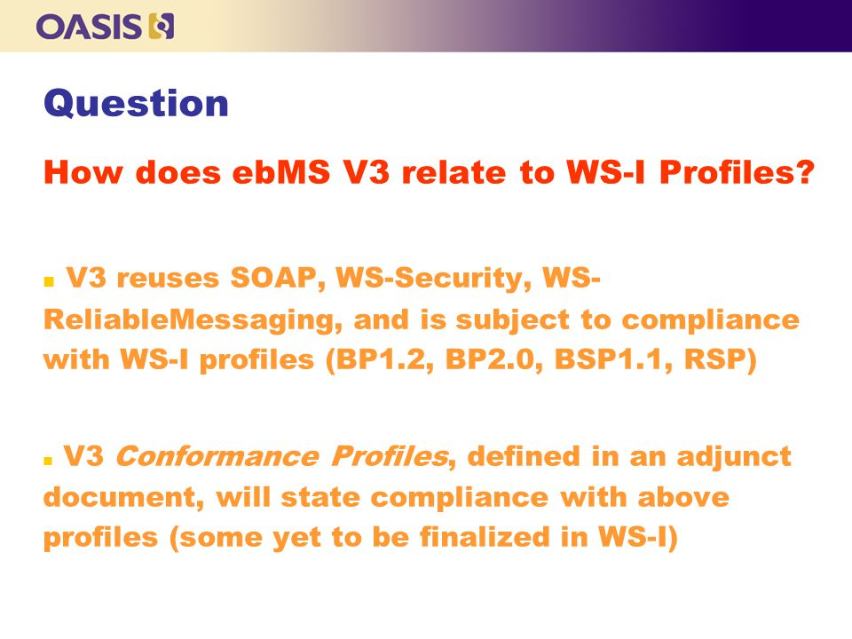 How does ebMS V3 relate to WS-I Profiles.