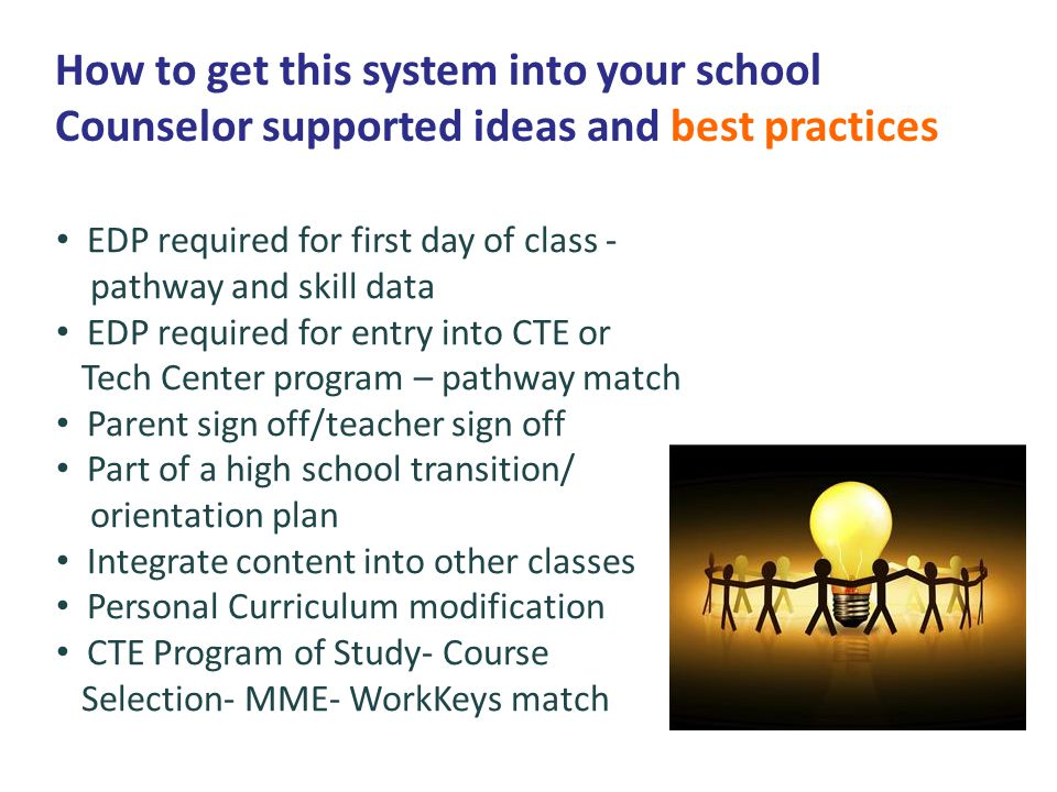 How to get this system into your school Counselor supported ideas and best practices EDP required for first day of class - pathway and skill data EDP required for entry into CTE or Tech Center program – pathway match Parent sign off/teacher sign off Part of a high school transition/ orientation plan Integrate content into other classes Personal Curriculum modification CTE Program of Study- Course Selection- MME- WorkKeys match