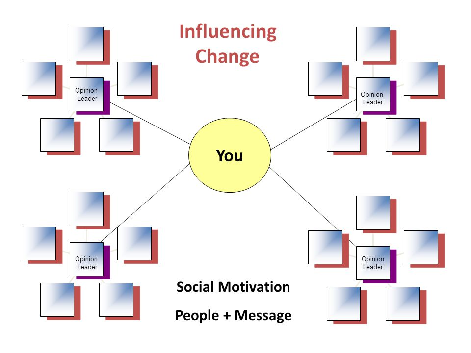 Opinion Leader Opinion Leader Opinion Leader Opinion Leader Opinion Leader Opinion Leader Opinion Leader Opinion Leader You Influencing Change Social Motivation People + Message