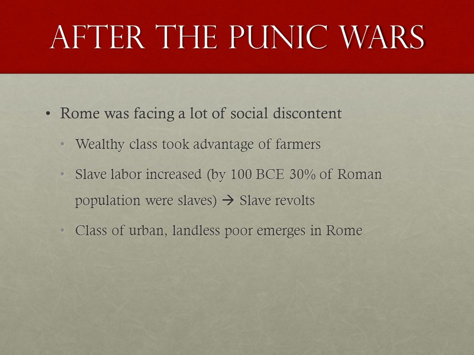 After the Punic Wars Rome was facing a lot of social discontentRome was facing a lot of social discontent Wealthy class took advantage of farmersWealthy class took advantage of farmers Slave labor increased (by 100 BCE 30% of Roman population were slaves)  Slave revoltsSlave labor increased (by 100 BCE 30% of Roman population were slaves)  Slave revolts Class of urban, landless poor emerges in RomeClass of urban, landless poor emerges in Rome