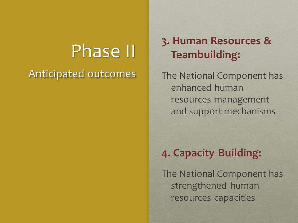 Phase II 3. Human Resources & Teambuilding: The National Component has enhanced human resources management and support mechanisms 4. Capacity Building