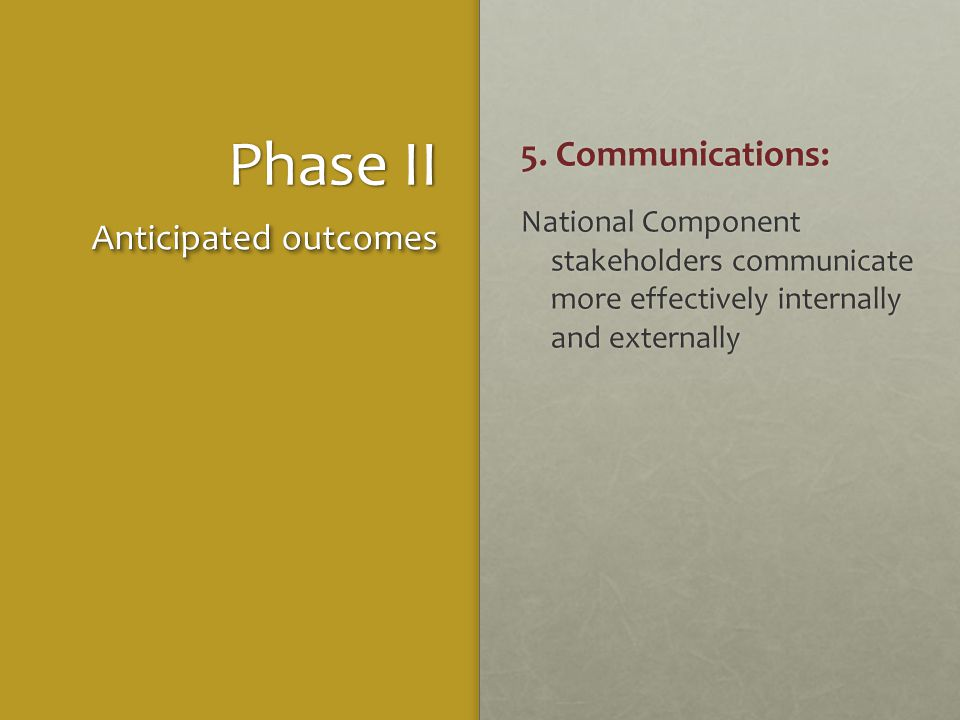Phase II 5. Communications: National Component stakeholders communicate more effectively internally and externally Anticipated outcomes