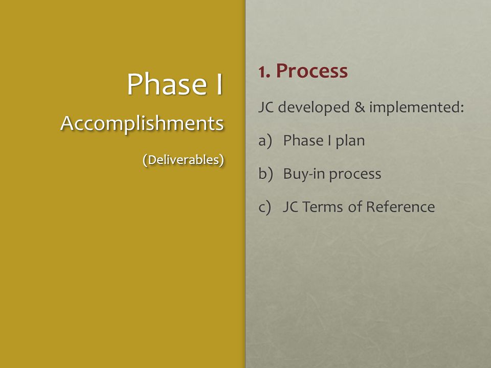 Phase I 1. Process JC developed & implemented: a)Phase I plan b)Buy-in process c)JC Terms of Reference Accomplishments(Deliverables)Accomplishments(De