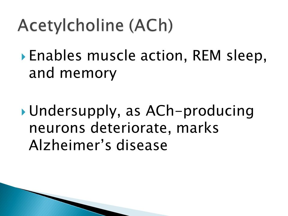  Enables muscle action, REM sleep, and memory  Undersupply, as ACh-producing neurons deteriorate, marks Alzheimer's disease