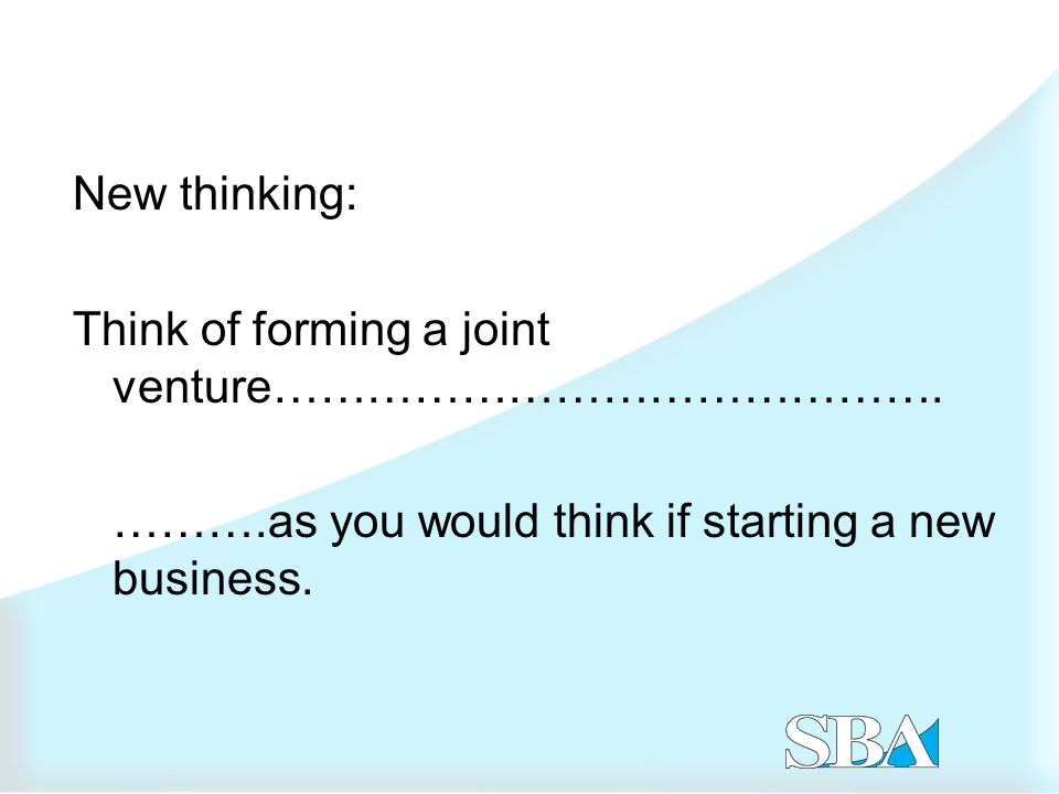 1.SBA definition of a small business joint venture 2.