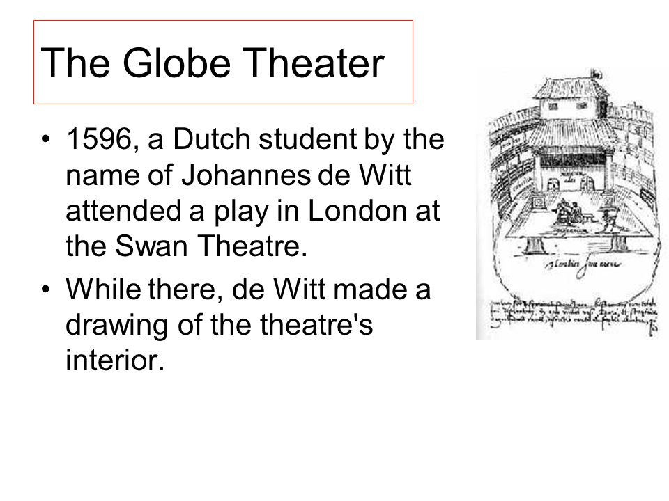 The Globe Theater 1596, a Dutch student by the name of Johannes de Witt attended a play in London at the Swan Theatre.