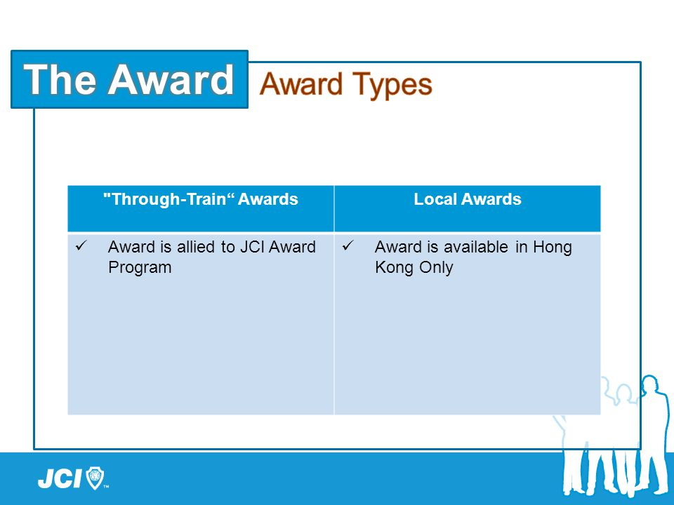Through-Train AwardsLocal Awards Award is allied to JCI Award Program Award is available in Hong Kong Only