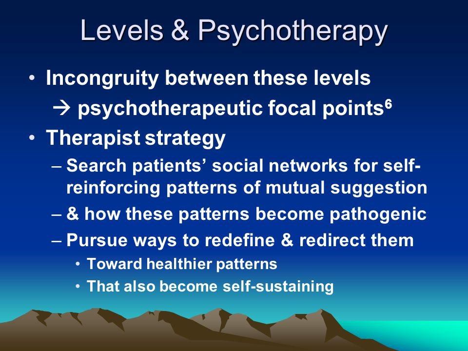 Levels & Psychotherapy Incongruity between these levels  psychotherapeutic focal points 6 Therapist strategy –Search patients' social networks for se