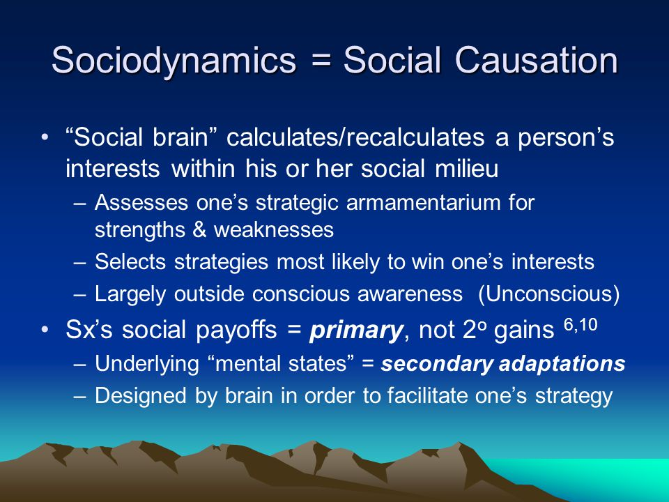 "Sociodynamics = Social Causation ""Social brain"" calculates/recalculates a person's interests within his or her social milieu –Assesses one's strategic"