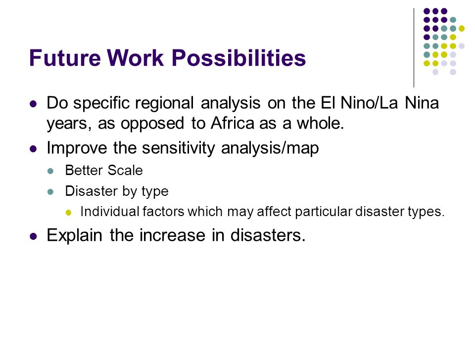 Future Work Possibilities Do specific regional analysis on the El Nino/La Nina years, as opposed to Africa as a whole. Improve the sensitivity analysi