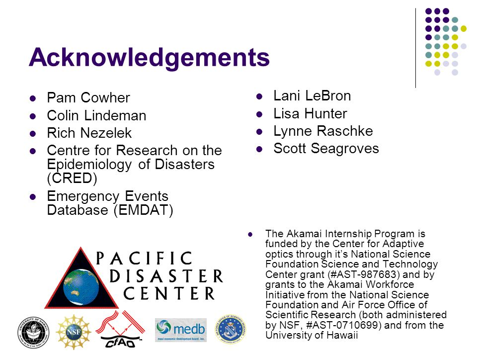 Acknowledgements Pam Cowher Colin Lindeman Rich Nezelek Centre for Research on the Epidemiology of Disasters (CRED) Emergency Events Database (EMDAT)