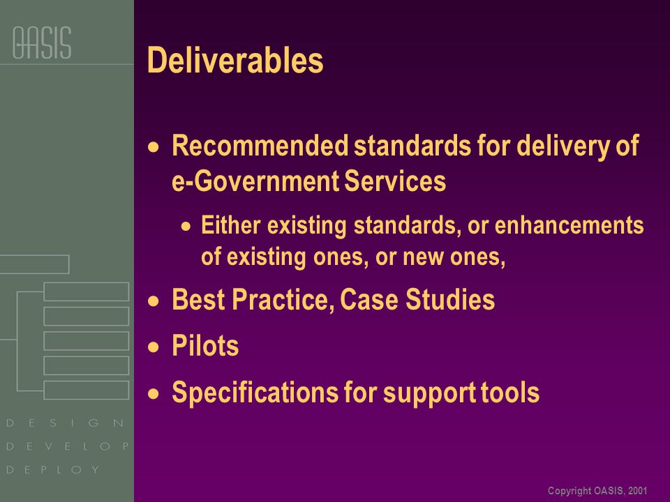 Copyright OASIS, 2001 Deliverables  Recommended standards for delivery of e-Government Services  Either existing standards, or enhancements of exist