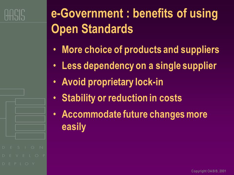 Copyright OASIS, 2001 e-Government : benefits of using Open Standards More choice of products and suppliers Less dependency on a single supplier Avoid