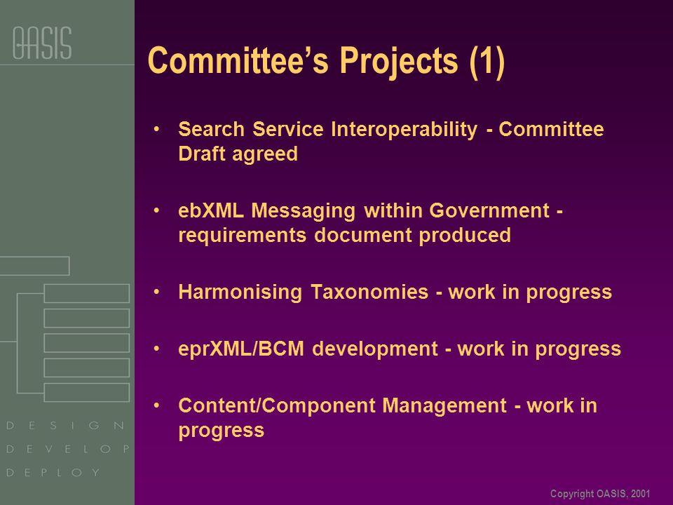 Copyright OASIS, 2001 Committee's Projects (1) Search Service Interoperability - Committee Draft agreed ebXML Messaging within Government - requiremen