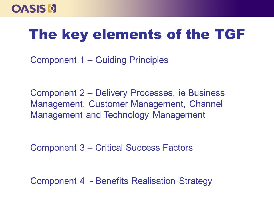 The key elements of the TGF Component 1 – Guiding Principles Component 2 – Delivery Processes, ie Business Management, Customer Management, Channel Management and Technology Management Component 3 – Critical Success Factors Component 4 - Benefits Realisation Strategy