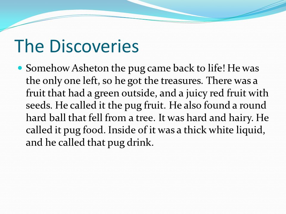 The Discoveries Somehow Asheton the pug came back to life.