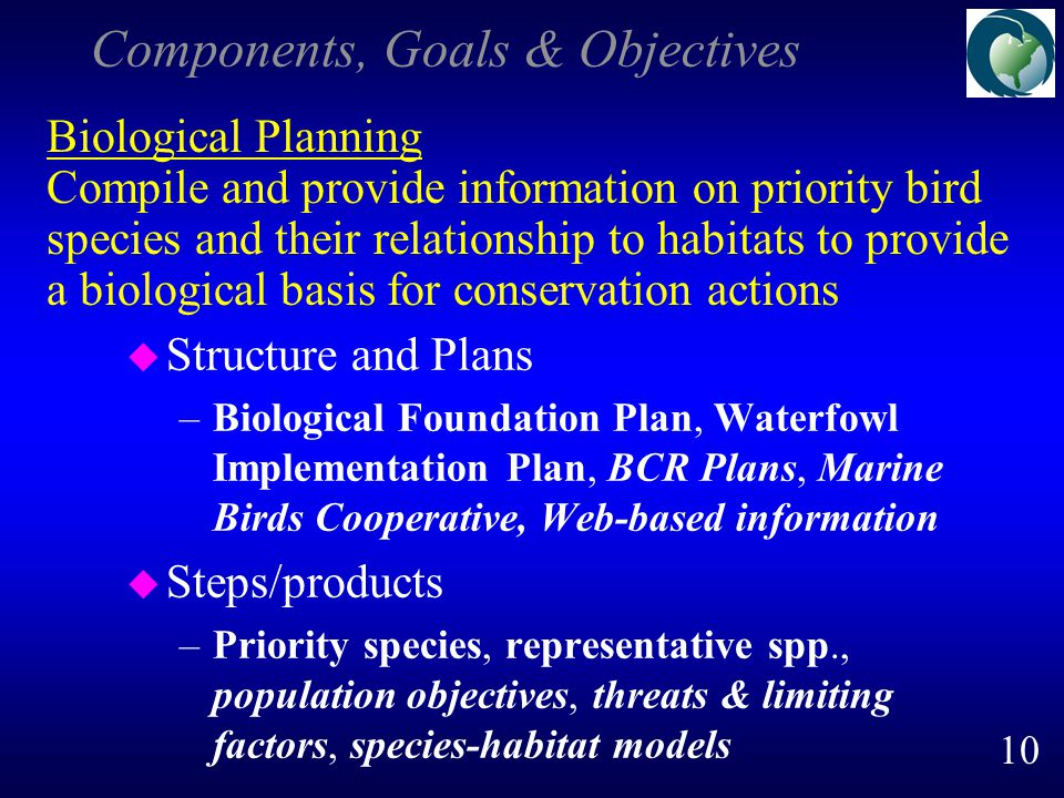 Components, Goals & Objectives u Structure and Plans –Biological Foundation Plan, Waterfowl Implementation Plan, BCR Plans, Marine Birds Cooperative, Web-based information u Steps/products –Priority species, representative spp., population objectives, threats & limiting factors, species-habitat models Biological Planning Compile and provide information on priority bird species and their relationship to habitats to provide a biological basis for conservation actions 10