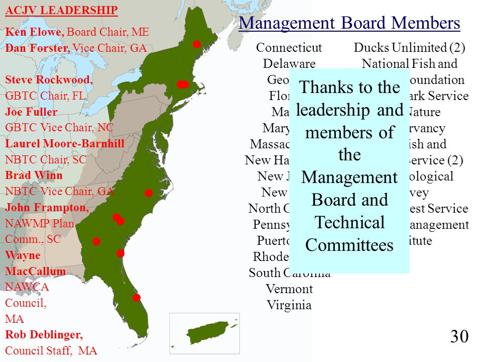 Management Board Members Connecticut Delaware Georgia Florida Maine Maryland Massachusetts New Hampshire New Jersey New York North Carolina Pennsylvania Puerto Rico Rhode Island South Carolina Vermont Virginia Ducks Unlimited (2) National Fish and Wildlife Foundation National Park Service The Nature Conservancy U.S.