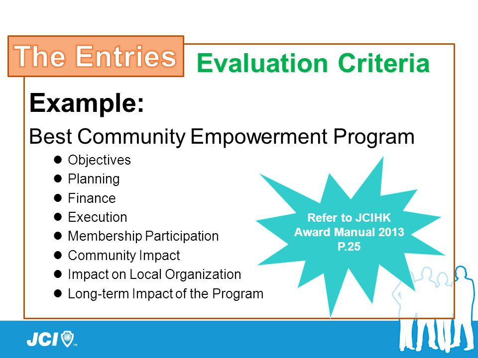 Example: Best Community Empowerment Program Objectives Planning Finance Execution Membership Participation Community Impact Impact on Local Organizati